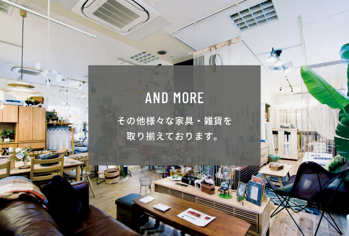 AND MORE その他様々な家具・雑貨を取り揃えております。